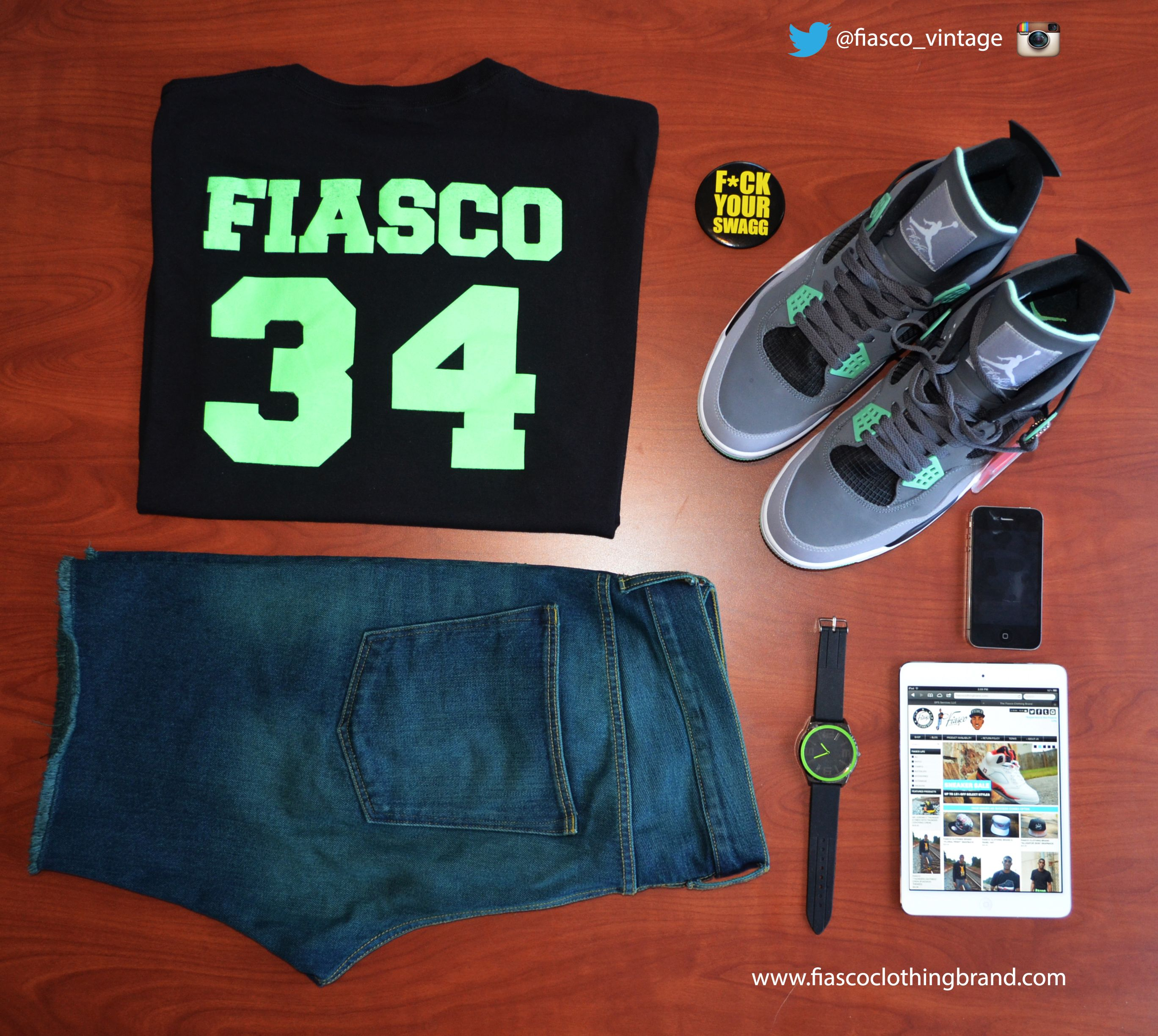 "We have now introduced our new tee! We here at the Fiasco Clothing Brand introduce our ""Glo Gang"" tee to match your Jordan 4 ""Green Glows"". The price is 15.00 and we have them in hand ready to ship now. Visit http://fiascoclothingbrand.com to place an order. They are available to purchase now. The sizes are small to 3 XL. Make sure you follow us on instagram and twitter: @fiasco_brand"
