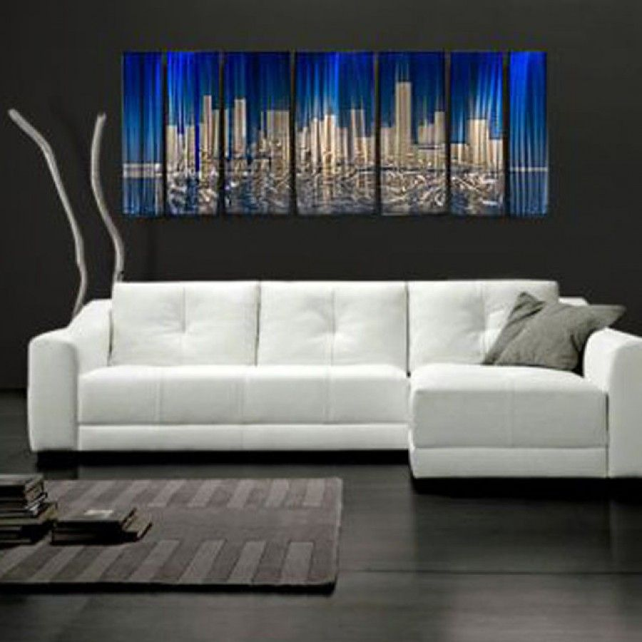 All my walls abstract by ash carl metal wall art in blue