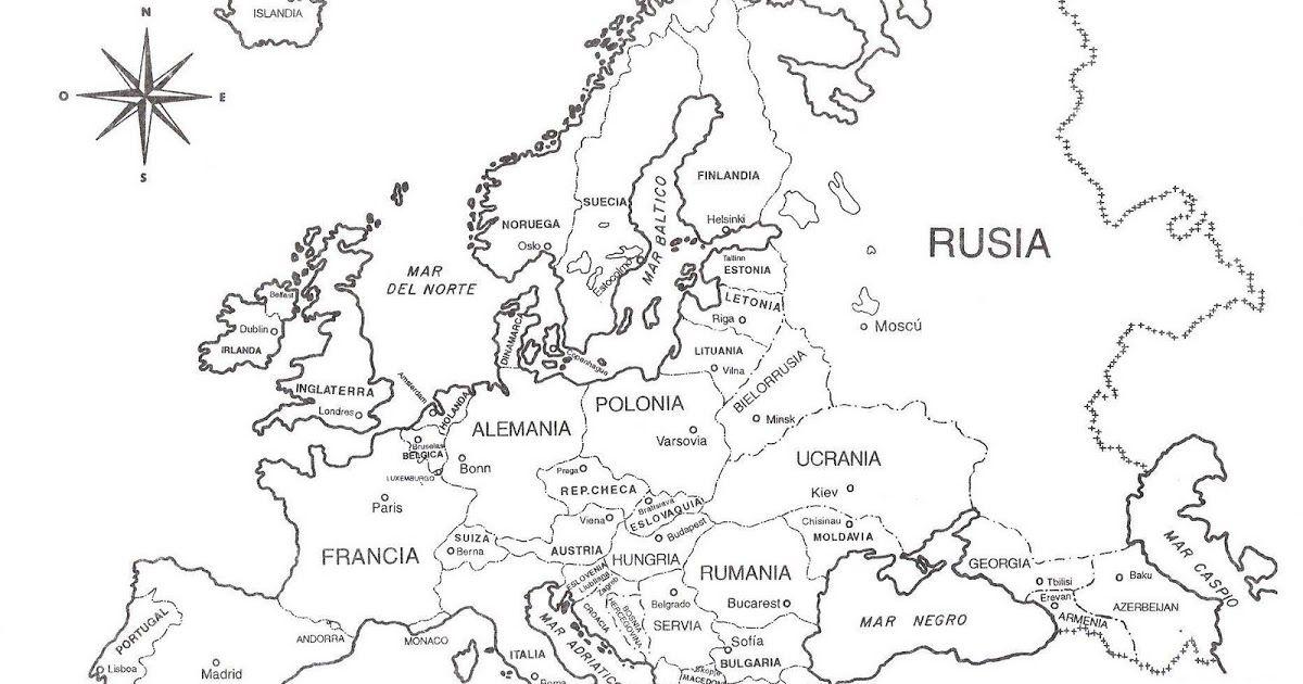 Mapa De Europa Para Imprimir Y Colorear Aprende Los Nombres De