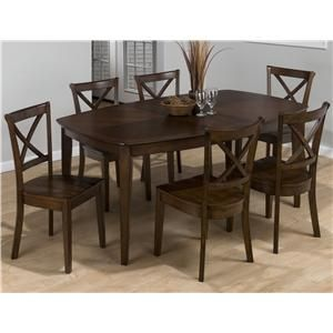 Collins Furniture 397 7 Piece Rectangular Top Table And Cross Back Chair Dining  Set By