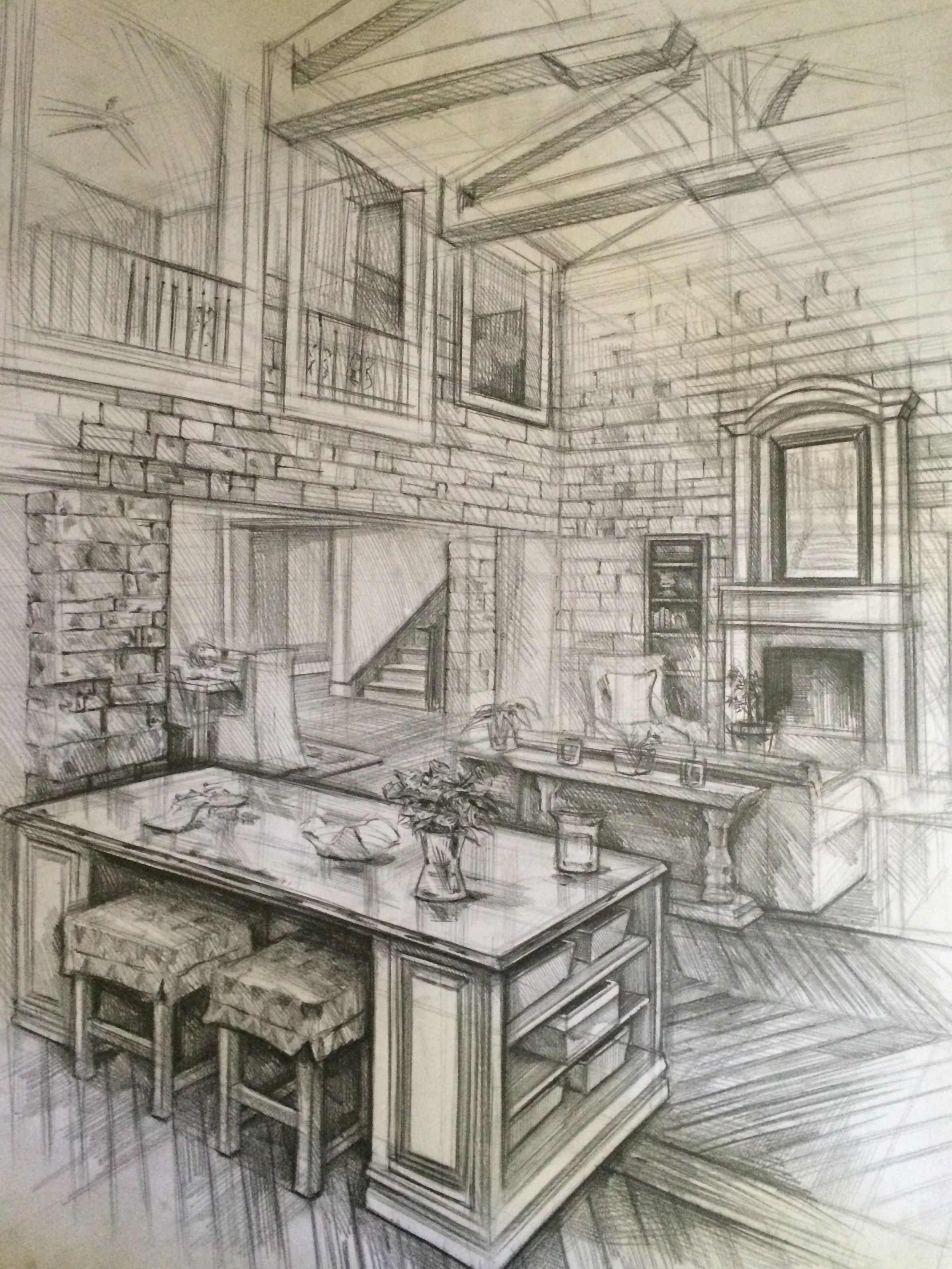 Inside House Drawing: Interior Architecture Drawing,karakalem,house,home