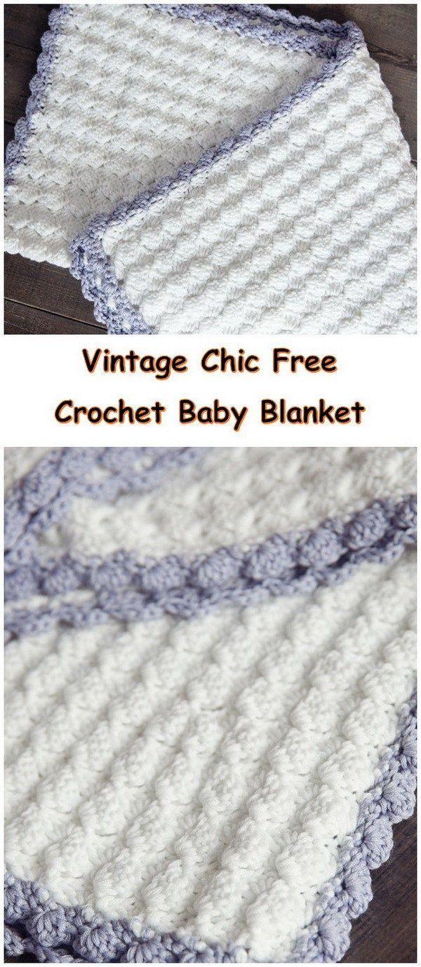 Vintage Chic Free Crochet Baby Blanket Pattern. | Cobijitas ...