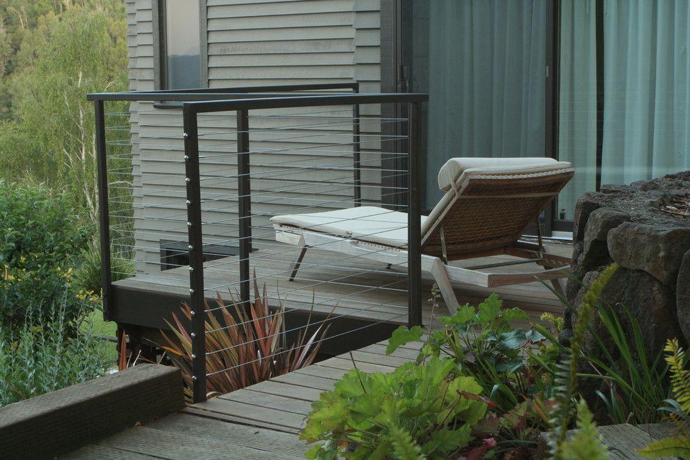 Modern Deck Railing Patio Modern With Balcony Black Metal Railing