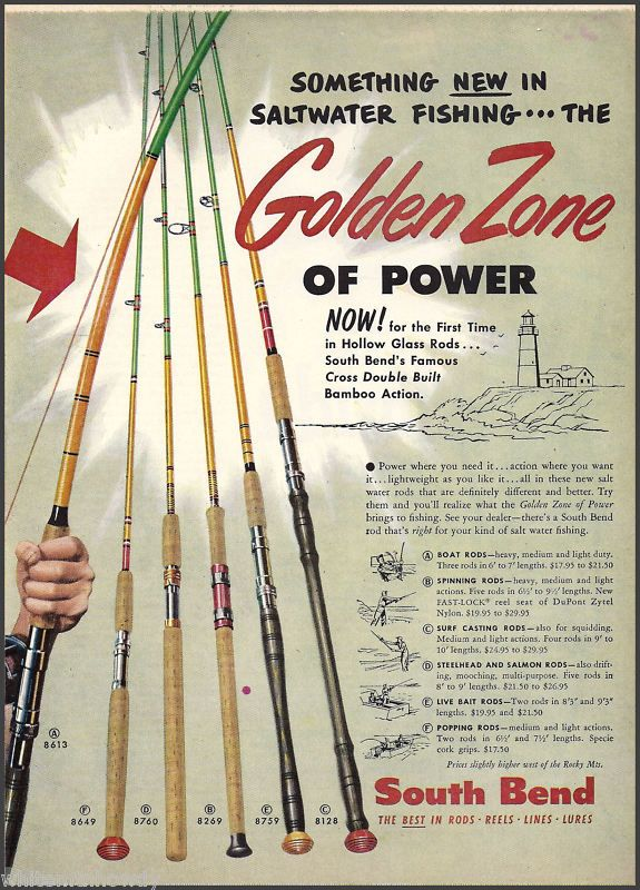 1954 South Bend Hollow Glass Fishing Rod Ad Vintage Fishing