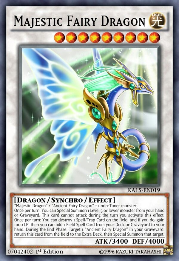 Majestic Fairy Dragon  | Yu-Gi-Oh! | Monster cards, Yugioh decks