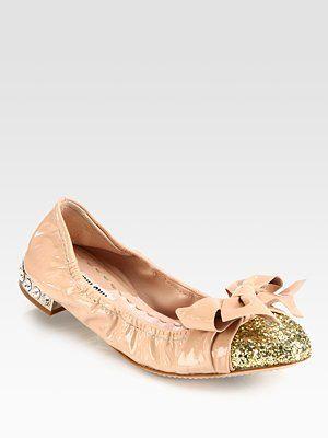 ae763b3f48c Miu Miu Glitter Patent Leather Bow Ballet Flats