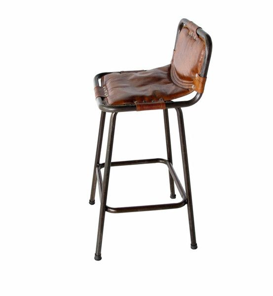 Leather Barstool Rustic Steel Frame With Leather Sling Style