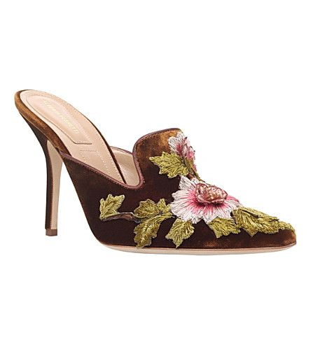 ALBERTA FERRETTI - Floral-embroidered velvet mules 105 | Selfridges.com