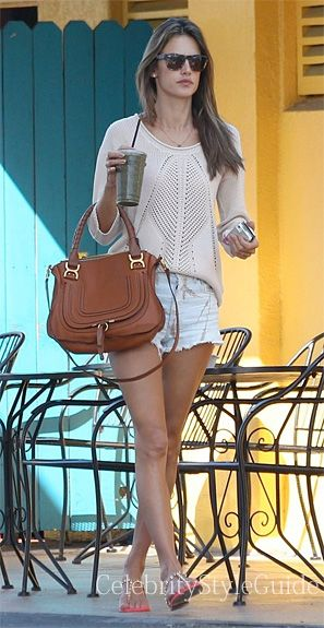0bffe7369 Alessandra Ambrosio Style and Fashion - Citizens of Humanity Chloe Hi Waist  Cut Off Short on Celebrity Style Guide