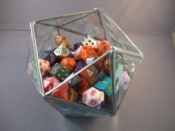 D20 Beveled Glass Dice Bowl Nerd Decor Gamer Room Nerd