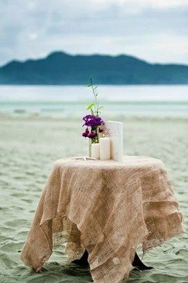 instead of renting linens use burlap as an inexpensive table cloth option