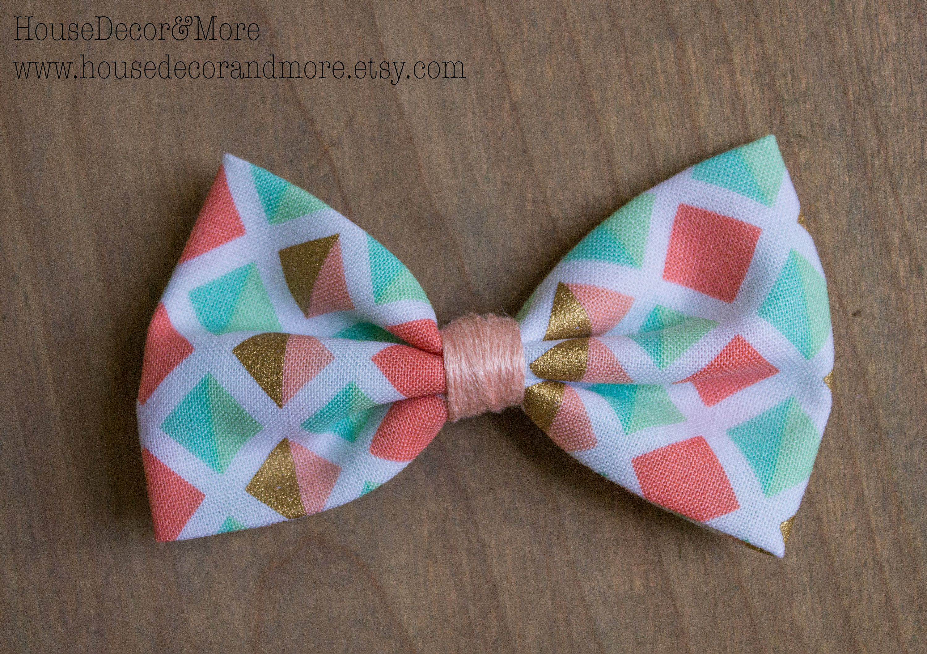 Pink Gold and Mint Geometric Pattern Fabric Hair Bows - Girls Fabric Hair Bow - Toddler Fabric Hair Bows - Birthday Hair Bows