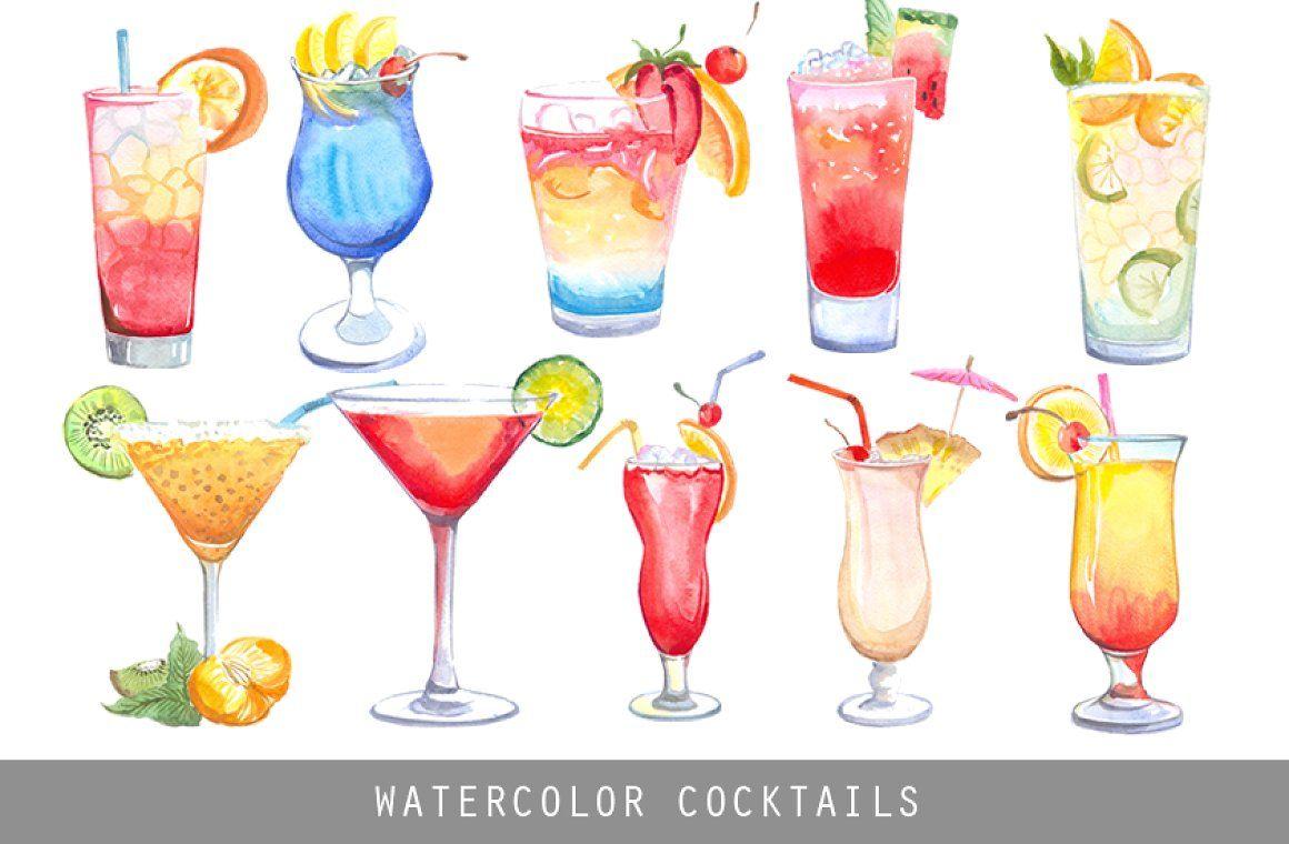 Summer vibes - Watercolor cocktails beverage illustration