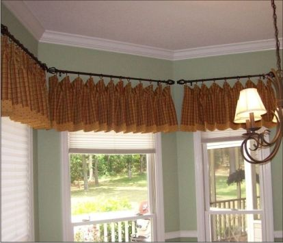 Seperate Rods In Bay Window Home Decorating Curtain For Windows