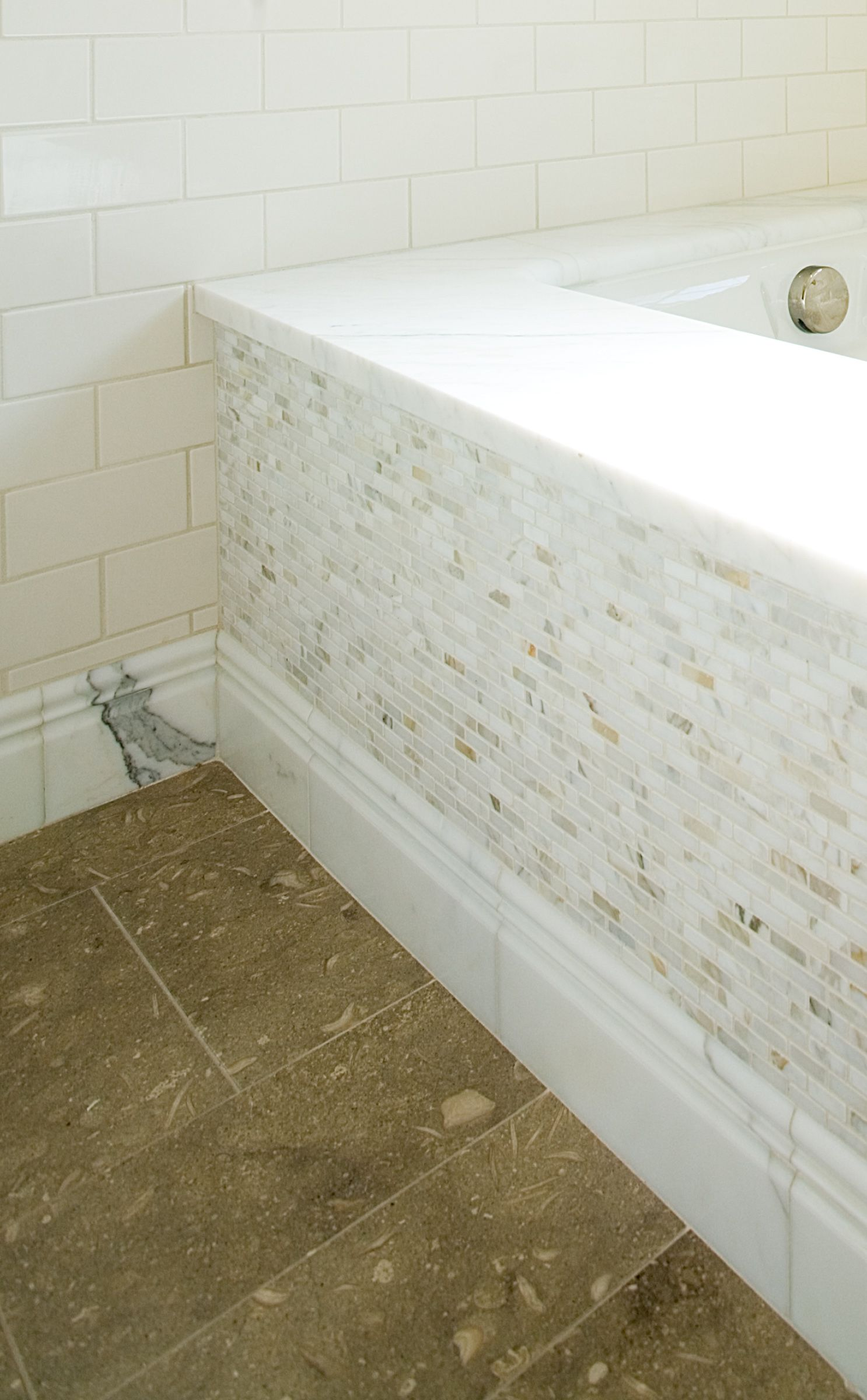 Marble tub riser & baseboard. Seagrass limestone flooring. | For the ...