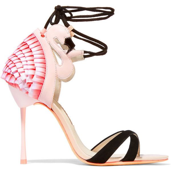 Sophia Webster Flamingo Frill leather, satin and suede sandals (€620) ❤ liked on Polyvore featuring shoes, sandals, heels, high heels, pink, pink strappy sandals, high heel sandals, high heel shoes, leather sandals and strappy heel sandals