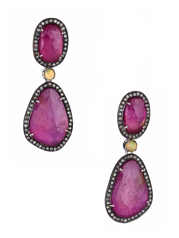 6a9ed97fb Ruby & Opal Double Freeform Drop Earrings by J/Hadley | Earrings ...