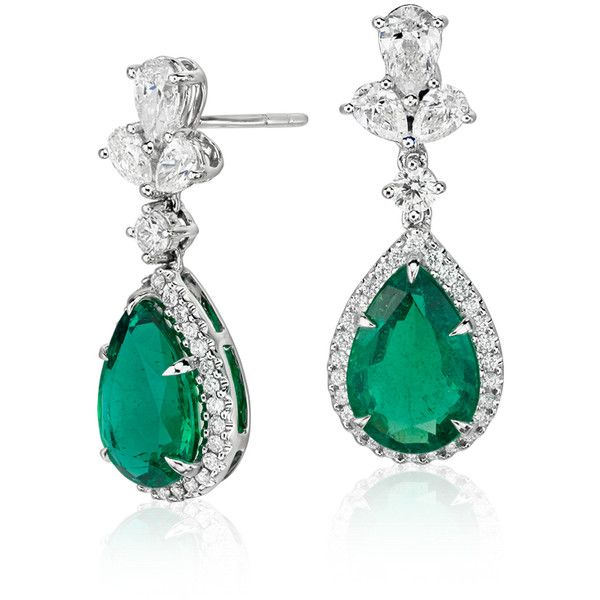 Blue Nile Emerald and Diamond Drop Earrings (183.000 NOK) ❤ liked on Polyvore featuring jewelry, earrings, blue nile earrings, diamond jewellery, 18k diamond earrings, emerald drop earrings and diamond cluster earrings