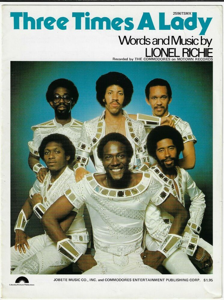 The Commodores Sheet Music Three Times A Lady 1978 Piano Vocal Guitar Lionel Richie Commodores Female Songs