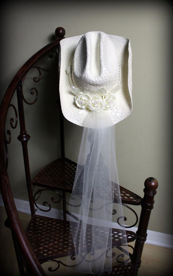 ivory cowgirl bridal hat with veil comes in ivory or white