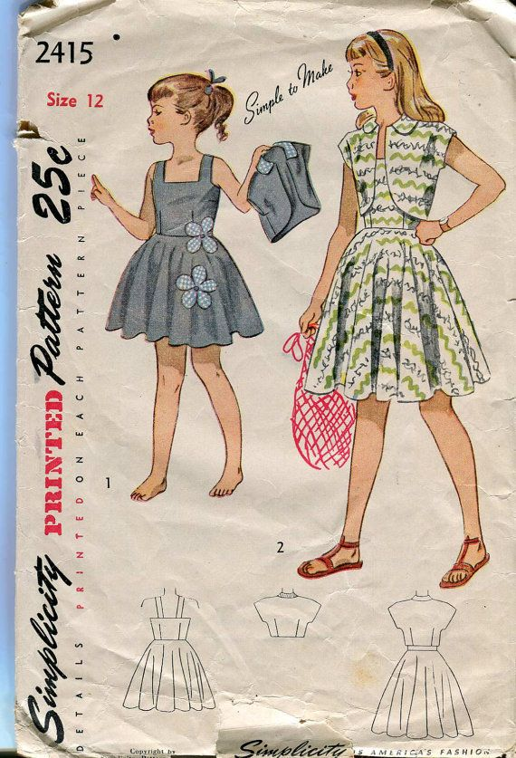 Simplicity 2215 Vintage 40s Girls Sun Dress and Bolero Pattern with applique