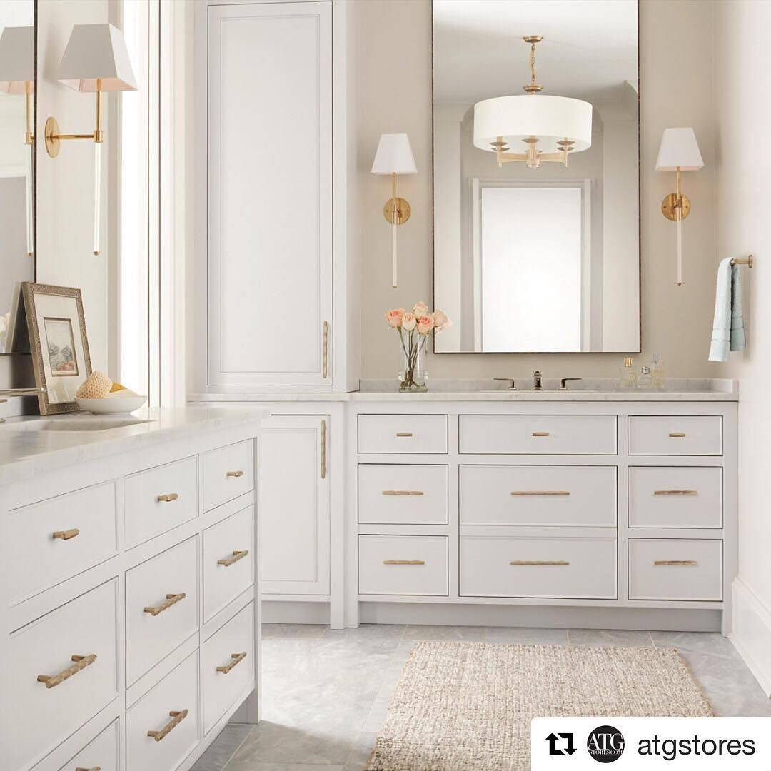 exciting master bathroom white cabinets | Pretty master bath with white cabinets, brass fixtures ...