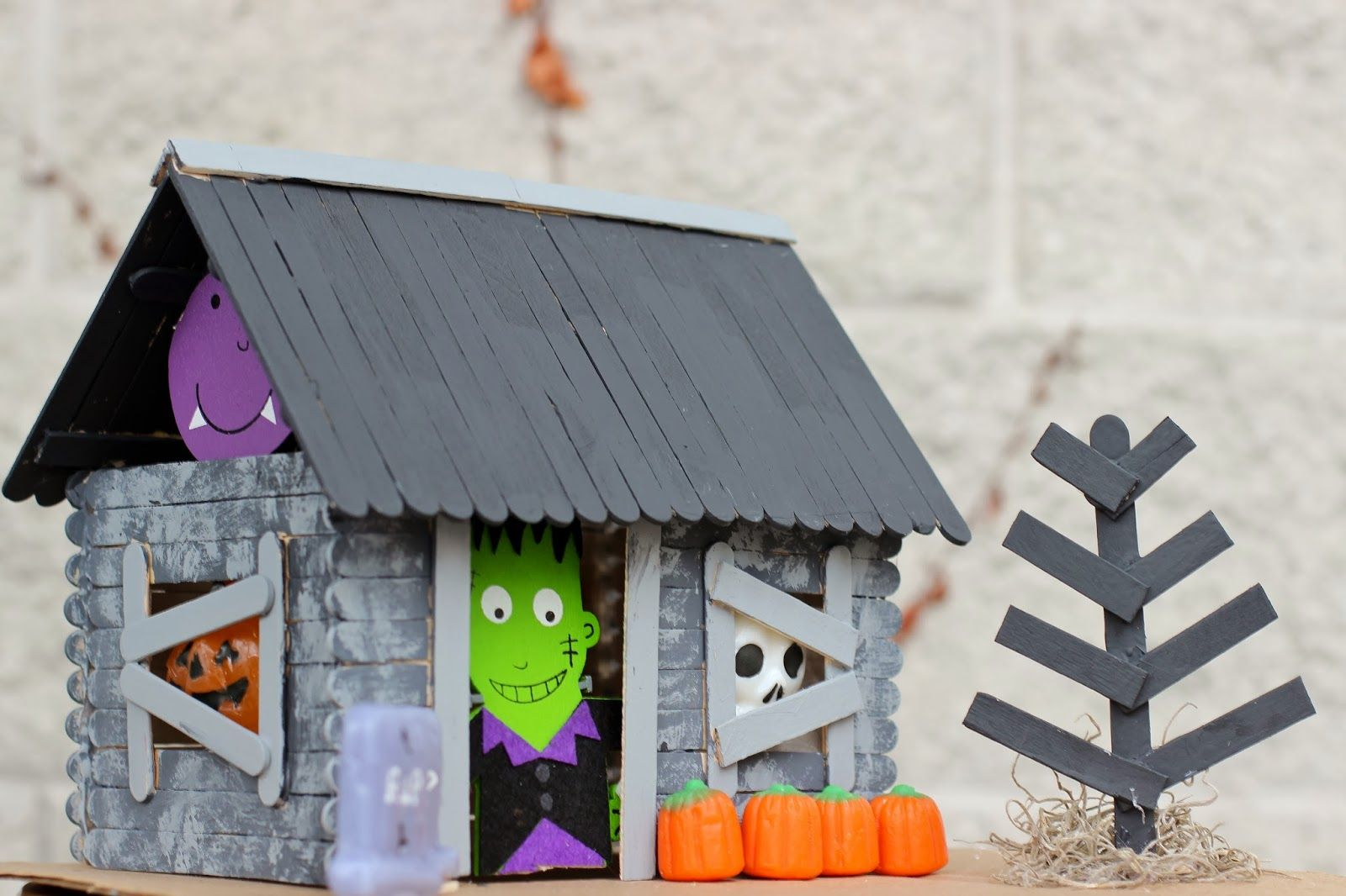 Popsicle Stick Haunted House With Instructions Included