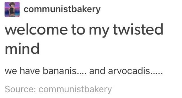 Welcome To My Twisted Mind We Have Bananis And Arvocadis Vine Memes Tumblr Funny Self Deprecating Humor