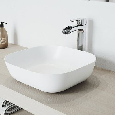 VIGO Camellia Stone Square Vessel Bathroom Sink with Faucet