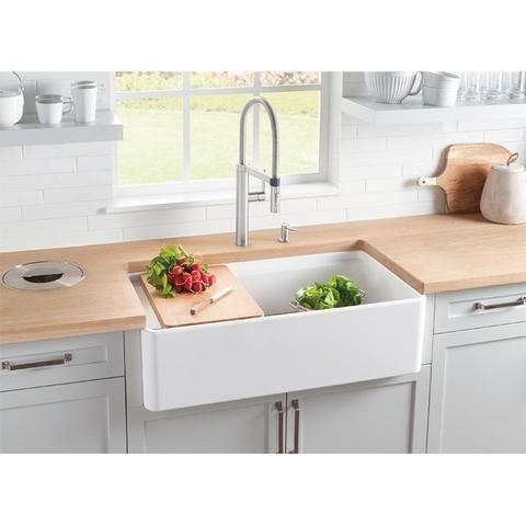 Blanco Profina 523026 Single Basin 36 Fireclay Apron Kitchen Sink With Accessory Ledge