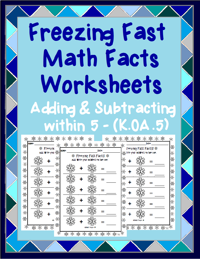 Adding and Subtracting within 5 Winter Worksheets | Subtraction ...