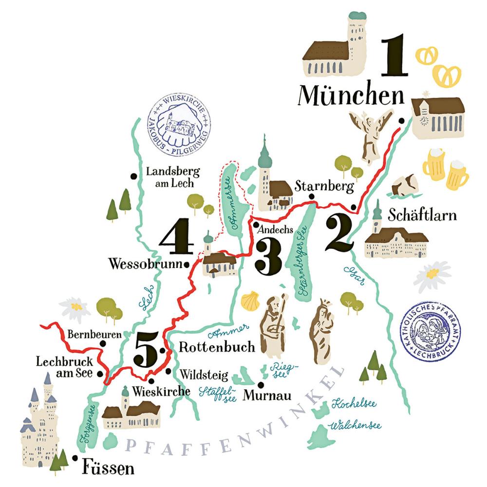 Chris Campe Illustrierte Karte Jakobsweg Google Suche Illustrierte Karten Bayern Karte Deutschlandkarte