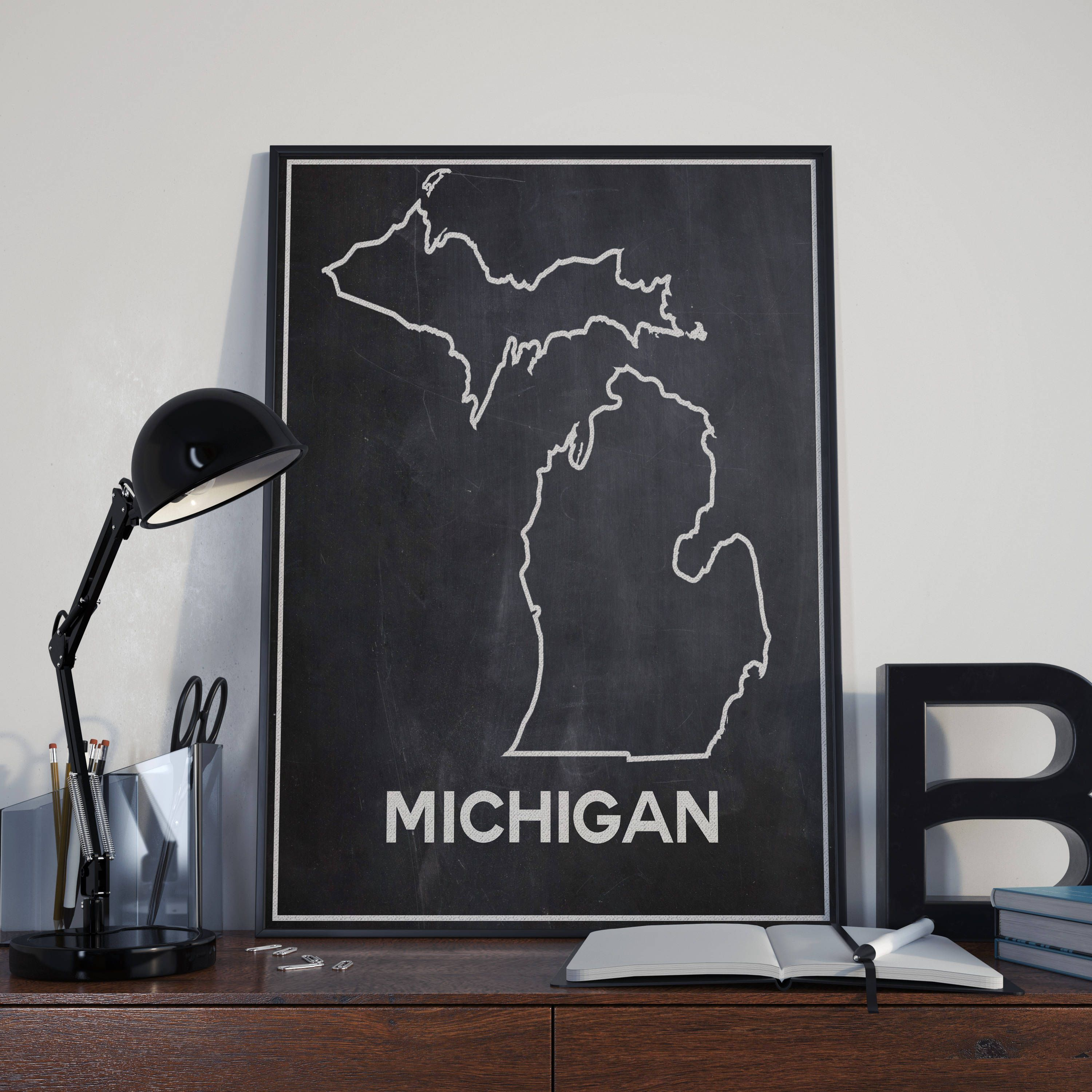 Map Michigan State%0A Map of Michigan State Map Michigan Map on Chalkboard Background Outline Map  Outline of State Map
