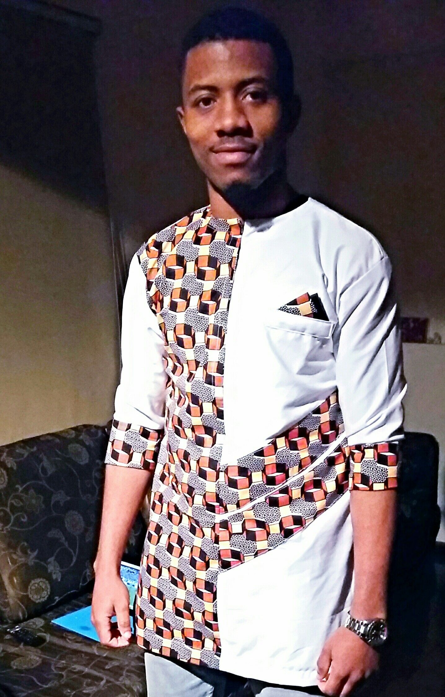 Mens ankara shirt by r ver african print fashion by for Guys in dress shirts