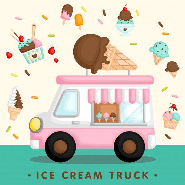 Pink ice cream truck  Premium Vector
