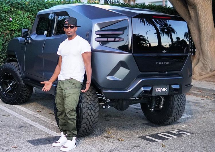 Jamie Foxx Shows Off His Wild Side With Beastly Rezvani Tank Purchase Jamie Foxx Show Lifted Chevy Trucks Tank
