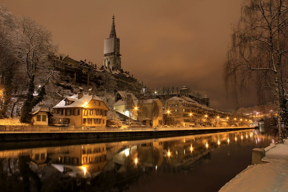 A Rainy Day In New York Bern Winter Night In Bern Switzerland Places To Travel Places Places To Go