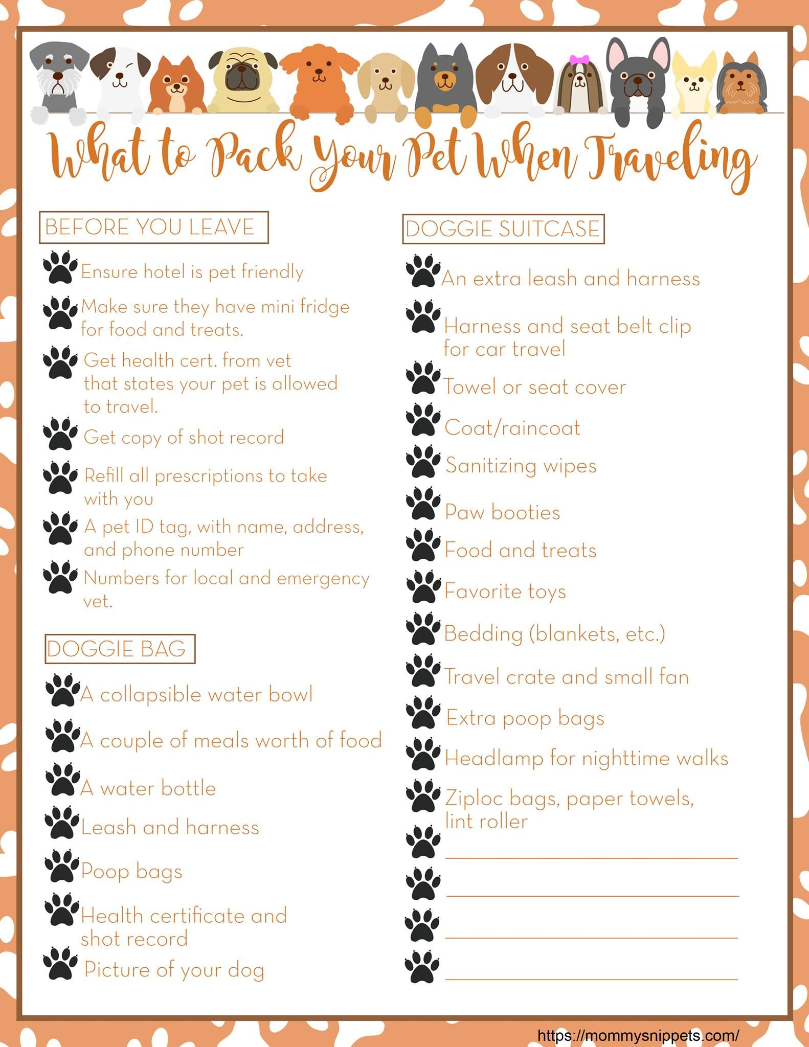 Pet Packing List For A Road Trip Mommysnippets Com Dog Packing