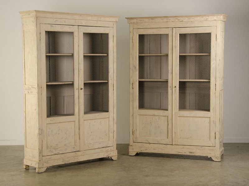 A Pair Of Bibliotheques With A Painted Finish And Wire Grilles From France C 1875 This Original Piece Is Notable Not Display Cabinet Vintage Bookcase Bookcase