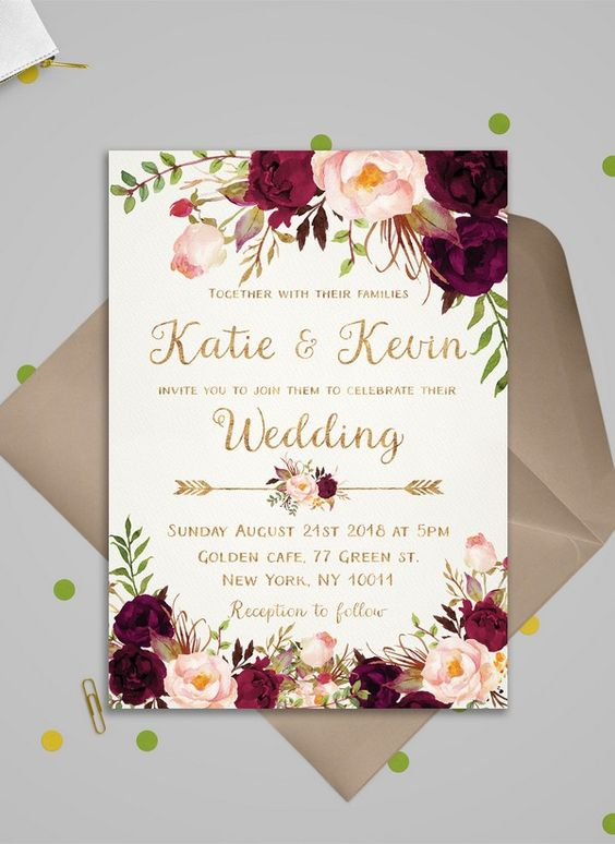 Lovely And Creative Wedding Invitation For Your Dream Wedding Floral Wedding Invitations Burgundy Wedding Invitations Wedding Invitation Cards