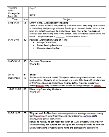 Planning For A Full Day Of InquiryBased Learning Kindergarten - Project based learning lesson plan template