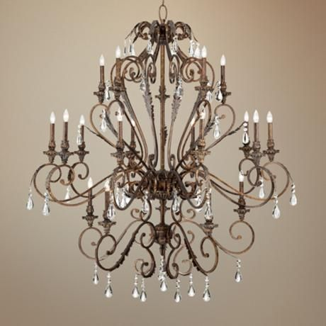 Acanthus And Crystal 68 Wide Bronze Chandelier V5107 Lamps