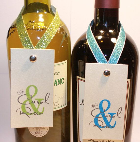Personalized wine bottle neck tags with your name by for Cute wine bottles