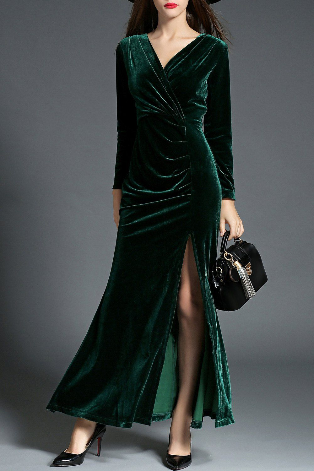 Slit surplice velvet prom dress prom and winter fashion