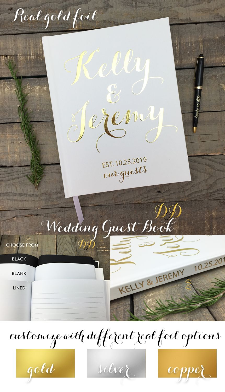 Custom Guest Book Real Gold foil Guestbook, Wedding, Wedding gold ...