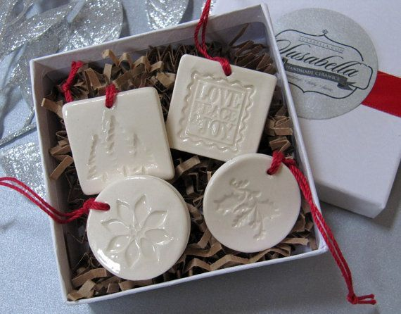 4 Miniature Square and Round Christmas Ornaments or Holiday Gift Tags – SHIPS FAST – Gift Boxed