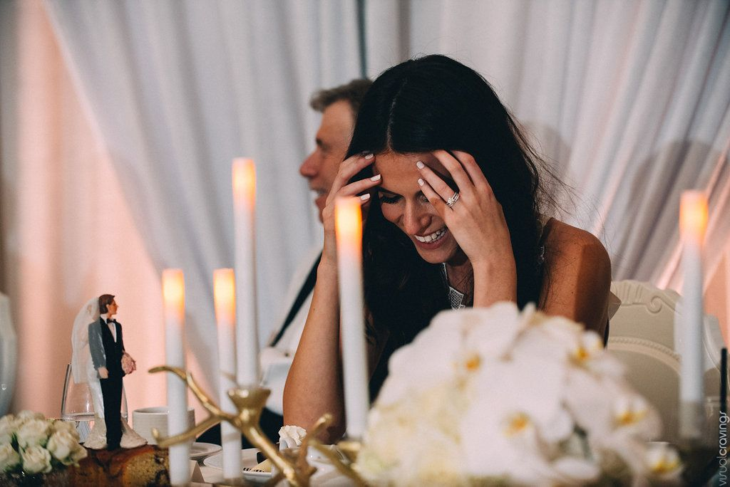 Blushing bride with Candle Impressions Flameless tapers at the head table! This Royal York, Toronto wedding is to die for.