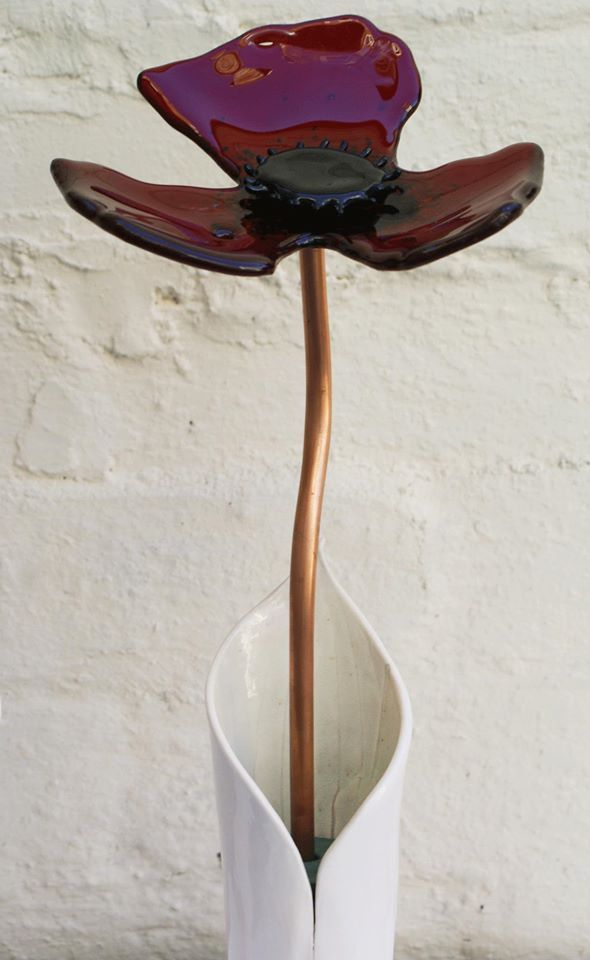 fused glass poppy and porcelain vase by sharon hanlon at reflect fused glass