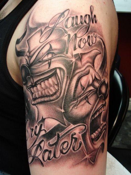 Upper Arm Tattoos Upper Arm Tattoos Gangsta Tattoos Clown Tattoo