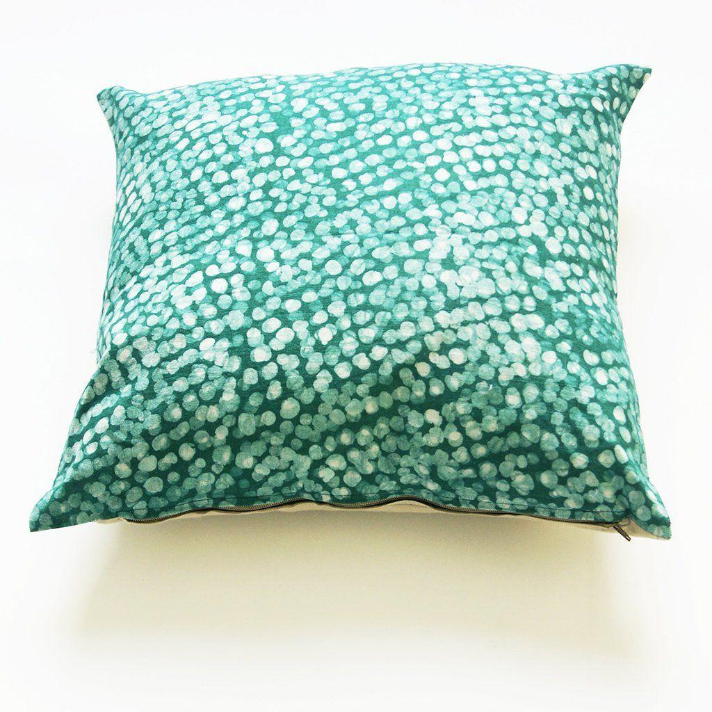 Linen pillow cover emerald green dot batik blockprinted x